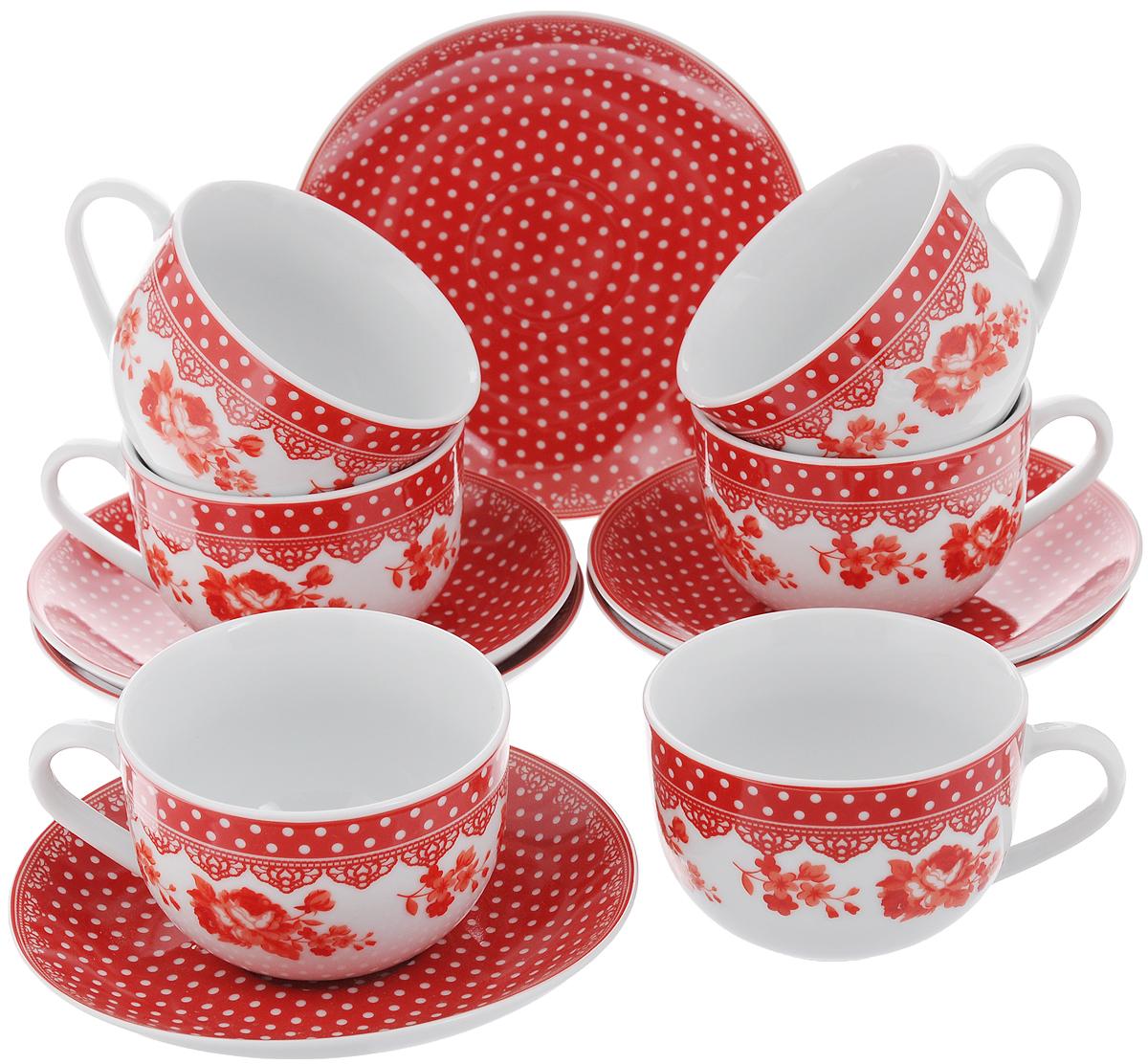 Набор чайный Loraine, цвет: белый, красный, 12 предметов. 2590725907Чайный набор Loraine состоит из 6 чашек и 6 блюдец. Изделия выполнены из высококачественного фарфора и оформлены ярким рисунком. Такой набор прекрасно дополнит сервировку стола к чаепитию, а также станет замечательным подарком для ваших друзей и близких. Объем чашки: 220 мл. Диаметр чашки по верхнему краю: 9 см. Высота чашки: 6,2 см. Диаметр блюдца: 14,5 см. Высота блюдца: 2,3 см.