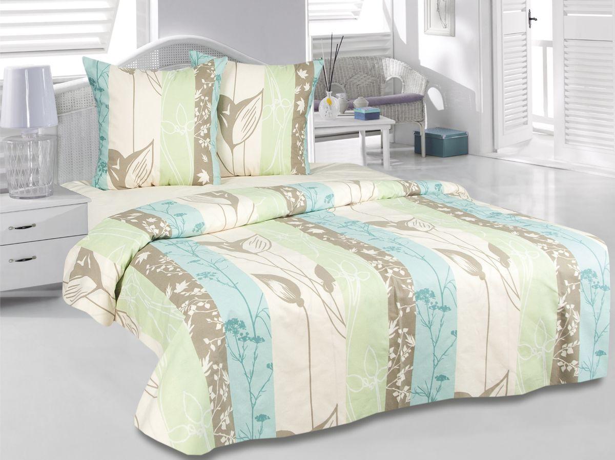 Комплект белья Tete-a-Tete Гербарий, 1,5-спальный, наволочки 70х70, цвет: зеленый. к-8090п + простыня в подарокк-8090п