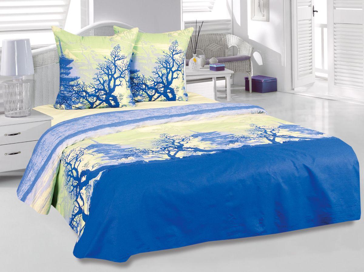 Комплект белья Tete-a-Tete Шанхай, 2-спальный, наволочки 70х70, цвет: синий. к-8091п + простыня в подарокк-8091п