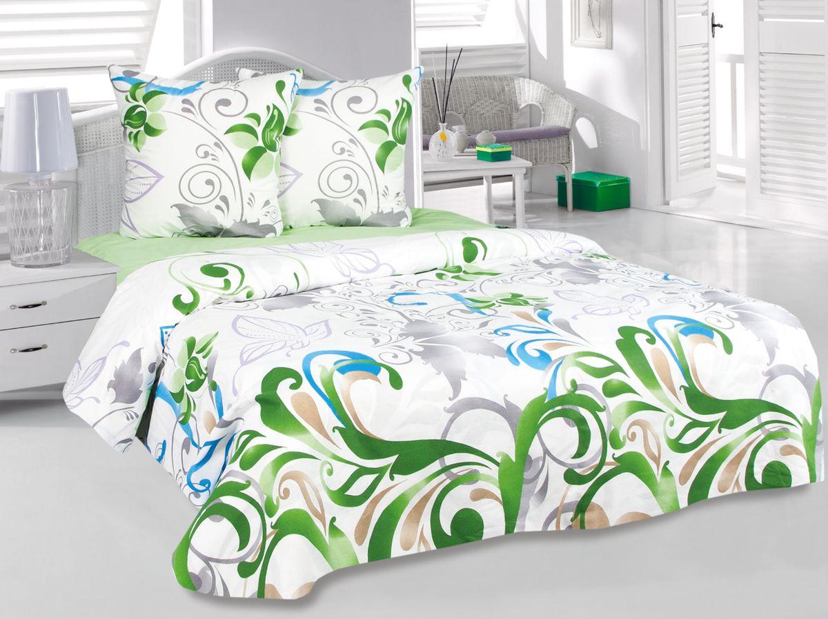Комплект белья Tete-a-Tete Нежность, 1,5-спальный, наволочки 70х70, цвет: зеленый. к-8092п + простыня в подарокк-8092п