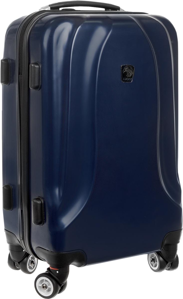 Чемодан Lucky Club, цвет: темно-синий, 38 л. SK802 46CMSK802 46CMЧемодан Lucky Club, выполненный из прочного пластика, прекрасно подойдет для путешествий. Изделие имеет жесткую форму. Материал внутренней отделки - полиэстер серого цвета. Чемодан вместителен, он содержит продуманную внутреннюю организацию, которая позволяет удобно разложить вещи. Чемодан закрывается по периметру на застежку-молнию с двумя бегунками. Внутри содержится 2 отделения. Большое отделение для хранения одежды оснащено перекрещивающимися багажными ремнями, которые соединяются при помощи пластиковой застежки. Второе отделение - на молнии с двумя бегунками. Для удобной перевозки чемодан оснащен четырьмя колесами, которые обеспечивают легкость перемещения в любом направлении. Телескопическая металлическая ручка выдвигается нажатием на кнопку и фиксируется в 2-х положениях. Сверху и сбоку предусмотрены ручки для поднятия чемодана. Специальные пластиковые ножки на боковой стороне защищают от загрязнений. Небольшие размеры позволяют проносить чемодан в...
