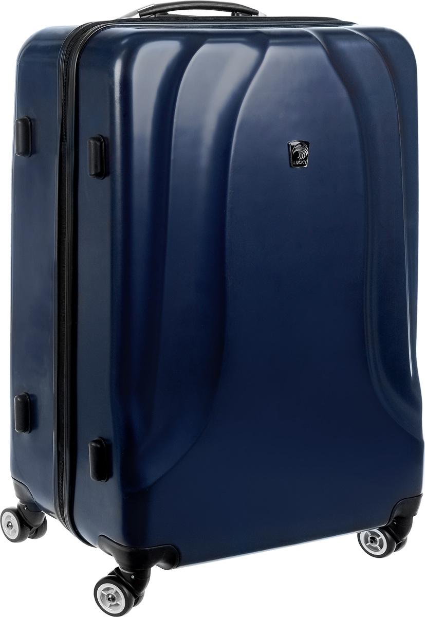 Чемодан Lucky Club, цвет: темно-синий, 98 л. SK802 70CMSK802 70CMЧемодан Lucky Club, выполненный из прочного пластика, прекрасно подойдет для путешествий. Изделие имеет жесткую форму. Материал внутренней отделки - полиэстер серого цвета. Чемодан вместителен, он содержит продуманную внутреннюю организацию, которая позволяет удобно разложить вещи. Чемодан закрывается по периметру на застежку-молнию с двумя бегунками. Внутри содержится 2 отделения. Большое отделение для хранения одежды оснащено перекрещивающимися багажными ремнями, которые соединяются при помощи пластиковой застежки. Второе отделение - на молнии с двумя бегунками. Для удобной перевозки чемодан оснащен четырьмя колесами, которые обеспечивают легкость перемещения в любом направлении. Телескопическая металлическая ручка выдвигается нажатием на кнопку и фиксируется в одном положении. Сверху и сбоку предусмотрены ручки для поднятия чемодана. Специальные пластиковые ножки на боковой стороне защищают от загрязнений. Чемодан оснащен кодовым замком с функцией...