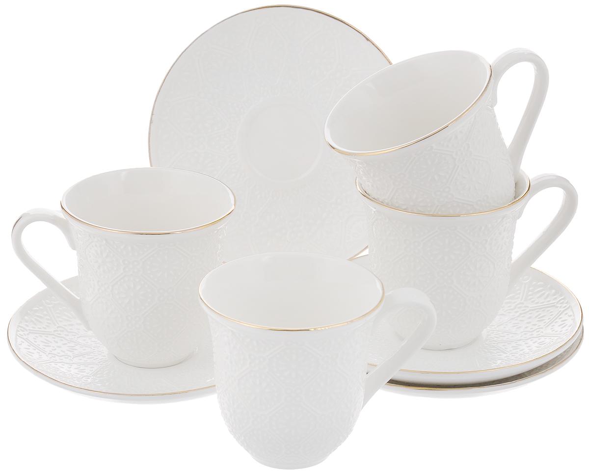 Набор чайный Loraine, 8 предметов. 2577725777Чайный набор Loraine состоит из 4 чашек и 4 блюдец, выполненных из высококачественного костяного фарфора. Изделия прекрасно дополнят сервировку стола к чаепитию. Благодаря изысканному дизайну и качеству исполнения такой набор станет замечательным подарком для ваших друзей и близких. Набор упакован в подарочную коробку, задрапированную белой атласной тканью. Объем чашки: 240 мл. Диаметр чашки по верхнему краю: 8,2 см. Высота чашки: 8,5 см. Диаметр блюдца: 14,2 см. Высота блюдца: 2 см.