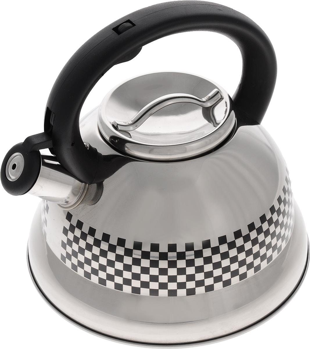 Чайник Mayer & Boch, со свистком, 2,6 л. 2417524175Чайник Mayer & Boch выполнен из высококачественной нержавеющей стали, что делает его весьма гигиеничным и устойчивым к износу при длительном использовании. Носик чайника оснащен откидным свистком, звуковой сигнал которого подскажет, когда закипит вода. Свисток открывается нажатием кнопки на ручке. Фиксированная ручка, изготовленная из прочного пластика, делает использование чайника очень удобным и безопасным. Поверхность чайника гладкая, что облегчает уход за ним. Эстетичный и функциональный, такой чайник будет оригинально смотреться в любом интерьере. Чайник пригоден для всех типов плит, включая индукционные. Можно мыть в посудомоечной машине. Высота чайника (без учета ручки и крышки): 12 см. Высота чайника (с учетом ручки и крышки): 22,5 см. Диаметр чайника (по верхнему краю): 10 см.