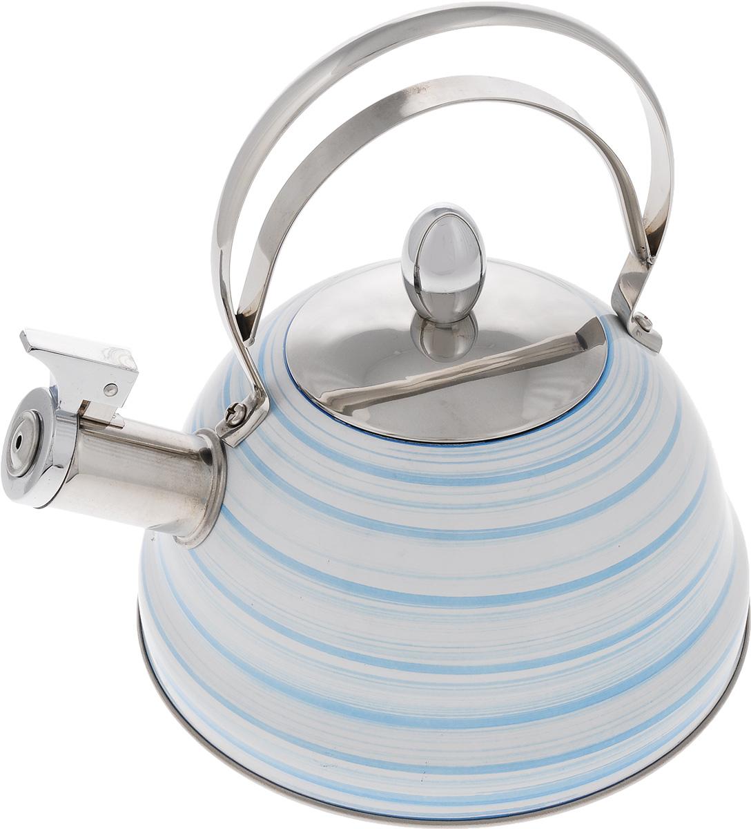 Чайник Mayer & Boch, со свистком, цвет: белый, голубой, стальной, 2,8 л. 2142021420Чайник Mayer & Boch выполнен из высококачественной нержавеющей стали, что делает его весьма гигиеничным и устойчивым к износу при длительном использовании. Капсулированное дно с прослойкой из алюминия обеспечивает наилучшее распределение тепла. Носик чайника оснащен насадкой-свистком, звуковой сигнал которого подскажет, когда закипит вода. Фиксированная ручка из нержавеющей стали, делает использование чайника очень удобным и безопасным. Поверхность чайника гладкая, что облегчает уход за ним. Эстетичный и функциональный, с эксклюзивным дизайном, чайник будет оригинально смотреться в любом интерьере. Подходит для всех типов плит, включая индукционные. Можно мыть в посудомоечной машине. Высота чайника (без учета ручки и крышки): 10,5 см. Высота чайника (с учетом ручки и крышки): 23 см. Диаметр чайника (по верхнему краю): 10 см.