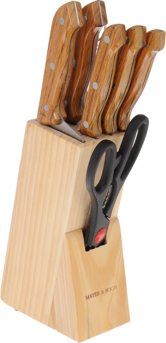 Набор ножей Mayer & Boch, на подставке, 8 предметов. 395395Набор Mayer & Boch состоит из 5 ножей, мусата, ножниц и подставки. Лезвия выполнены из высококачественной нержавеющей стали с гладкой, легко очищаемой поверхностью. Рукоятки, выполненные из полипропилена, обеспечивают комфортный и легко контролируемый захват. Ножи прекрасно подходят для ежедневной резки фруктов, овощей и мяса. Предметы набора компактно размещаются на подставке из натурального дерева. В набор входят: - нож для очистки - маленький нож с коротким прямым лезвием. Им удобно снимать кожуру с любого фрукта и овоща; - нож универсальный - легкий и многофункциональный нож для резки небольших овощей и фруктов, колбасы, сыра, масла. Имеет неширокое лезвие, острие сцентрировано; - нож для выемки костей - неширокий нож очень удобен для отделения жил от мяса и мяса от костей, хотя по длине и форме достаточно универсален и часто используется для нарезки любых продуктов, а также при разделке курицы, рыбы, не очень крупных овощей; ...