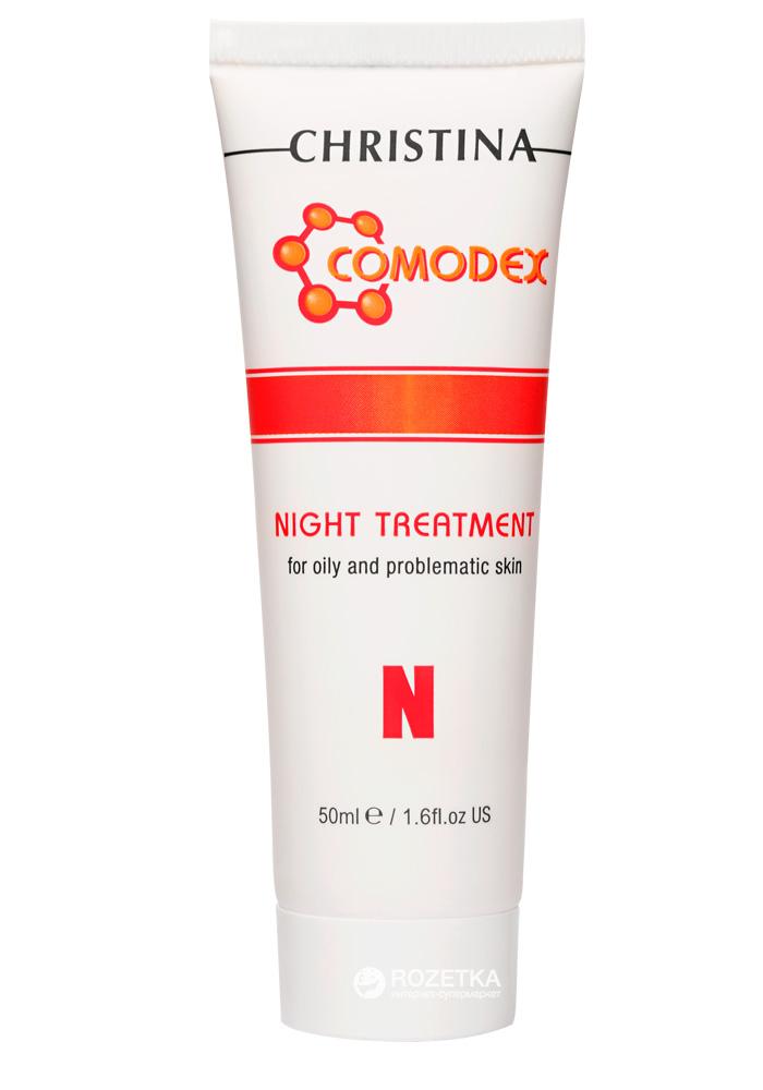 Christina Ночная сыворотка Comodex N Night Treatment 50 млCOMNНочная сыворотка Christina Comodex N - Night Treatment оказывает выраженный оздоровливающий эффект. Содержащиеся в сыворотке экстракт томата и ниацинамид (витамин РР) обладают бактерицидным действием, улучшают кровообращение и оксигенацию кожи. Койевая кислота выравнивает и отбеливает кожу, устраняя пигментацию после акне, а действие активной молочной кислоты и ретинола ускоряет процессы отшелушивания отмерших клеток и обновления кожи. После применения ночной сыворотки от компании Кристина Ваша кожа будет выглядеть более здоровой.