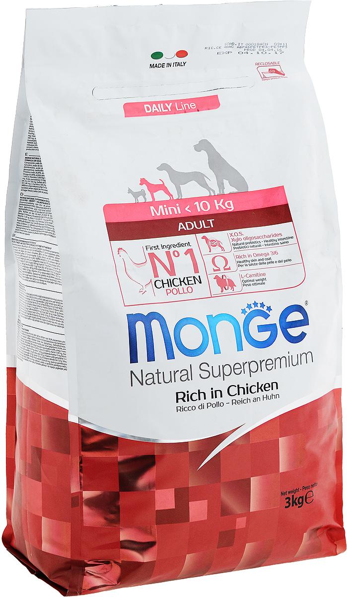 Корм сухой Monge для взрослых собак мелких пород, с курицей, 3 кг70004114Сухой корм Monge - это полнорационный корм, специально разработанный для ежедневного питания взрослых собак мелких пород с нормальной физической активностью. Благодаря своему сбалансированному белковому и энергетическому содержанию и рецептуре, богатой натуральными ингредиентами, ваши питомцы усваивают необходимые питательные вещества без накопления холестерина. Корм гарантирует оптимальное соотношение жирных кислот Омега-3 и Омега-6. Состав: куриное мясо (свежее мин. 10%, обезвоженное 26%), рис (мин. 26%), кукуруза, куриное масло, свекольный жом, овес, дрожжи, яичный крахмал, мука сельди, рыбий жир, экстракт Юкки Шидигера, цистин, морские водоросли, фруктоолигосахариды 330 мг/кг, маннан-олигосахариды 330 мг/кг, хондроитин сульфат 105 мг/кг, метилсульфонилметан 150 мг/кг, глюкозамин 150 мг/кг. Анализ: протеин 26%, масла и жиры 14%, сырая клетчатка 2,5%, сырая зола 6%, фосфор 1,34%, линолевая кислота 1,80%, Омега-6 2,52%, Омега-3 0,58%. ...