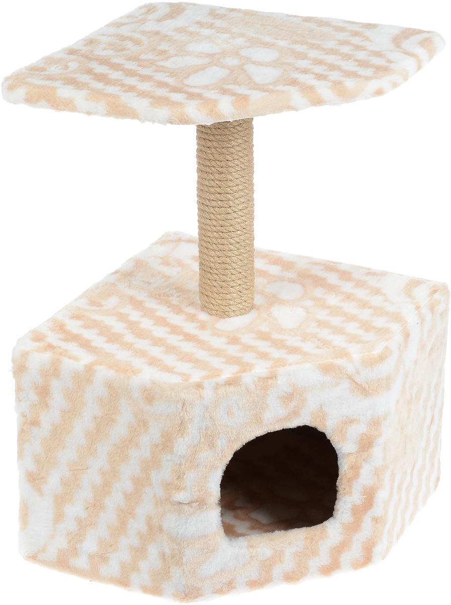 Игровой комплекс для кошек Меридиан, с домиком и когтеточкой, цвет: бежевый, белый, 50 х 40 х 59 смД211 ЦвИгровой комплекс для кошек Меридиан выполнен из высококачественного ДВП и ДСП и обтянут искусственным мехом. Изделие предназначено для кошек. Ваш домашний питомец будет с удовольствием точить когти о специальный столбик, изготовленный из джута. А отдохнуть он сможет либо на полке, находящейся наверху столбика, либо в расположенном внизу домике. Общий размер: 39 х 39 х 57 см. Размер полки: 38 х 38 см. Размер домика: 39 х 39 х 28 см.