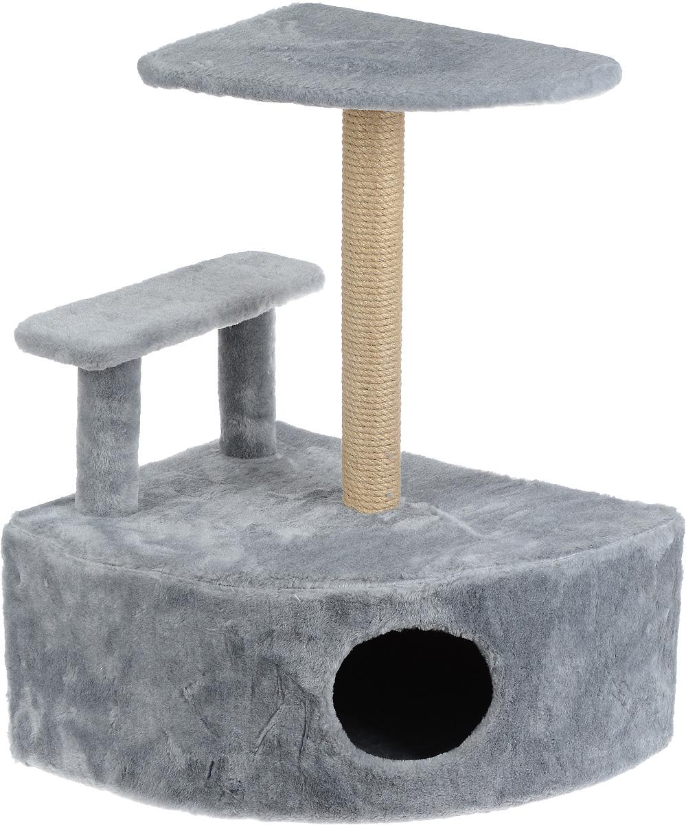 Игровой комплекс для кошек Меридиан, угловой, с домиком и когтеточкой, цвет: светло-серый, бежевый, 58 х 48 х 79 смД421 ССИгровой комплекс для кошек Меридиан выполнен из высококачественного ДВП и ДСП и обтянут искусственным мехом. Изделие предназначено для кошек. Комплекс оснащен ступенькой. Ваш домашний питомец будет с удовольствием точить когти о специальный столбик, изготовленный из джута. А отдохнуть он сможет либо на полке, находящейся наверху столбика, либо в расположенном внизу домике. Общий размер: 58 х 48 х 79 см. Размер полки: 37 х 37 см. Высота ступеньки: 23 см. Размер домика: 58 х 48 х 28 см.