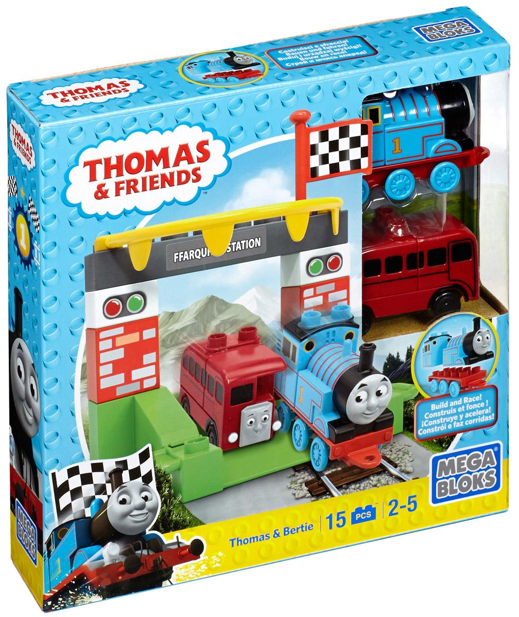 Mega Bloks Thomas & Friends Конструктор Томас и БертиCNJ08_DLC17Конструктор Mega Bloks Томас и Берти - удивительный подарок для вашего ребенка! Конструкторы Mega Bloks - это новые горизонты творчества. Каждый из наборов - это завершенная конструкция, имеющая некий сюжет. Этот конструктор входит в серию наборов Thomas & Friends, созданных по одноименному мультфильму. Томас и его верная команда помогают жителям городка: привозят почту, чинят железнодорожные пути и возят пассажиров к пунктам назначения. В наборе 15 элементов конструктора, из которых можно собрать въезд на станцию Фаркваар. Набор дополнен яркими детализированными стикерами. Все элементы конструктора совместимы с другими сборными паровозами из этой серии. Воссоздайте для своего маленького машиниста его любимые истории о приключениях паровозиков острова Содор или придумайте свою собственную. Идеальная игрушка для детей в возрасте от 2 до 5 лет.