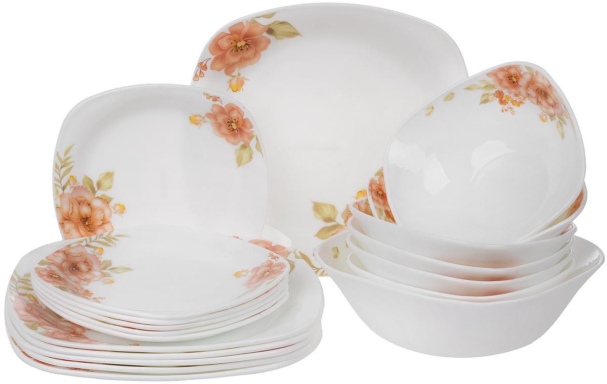 Набор столовой посуды Mayer & Boch, 19 предметов. 2409924099Столовый набор Mayer & Boch состоит из шести суповых тарелок, шести десертных тарелок, шести обеденных тарелок и одного салатника. Предметы набора выполнены из стекла, благодаря чему посуда будет использоваться очень долго, при этом сохраняя свой внешний вид. Набор создаст отличное настроение во время обеда, будет уместен на любой кухне и понравится каждой хозяйке. Красочное оформление предметов набора придает ему оригинальность и торжественность. Практичный и современный дизайн делает набор довольно простым и удобным в эксплуатации. Предметы набора можно мыть в посудомоечной машине, использовать в микроволновой печи и холодильнике. Размер суповой тарелки: 17,5 х 17,5 см. Высота стенок суповой тарелки: 6,5 см. Размер обеденной тарелки: 26,5 х 26,5 см. Высота обеденной тарелки: 2,5 см. Размер десертной тарелки: 19,5 х 19,5 см. Высота десертной тарелки: 2 см. Размер салатника: 22 х 22 см. Высота стенок салатника: 7,5 см....