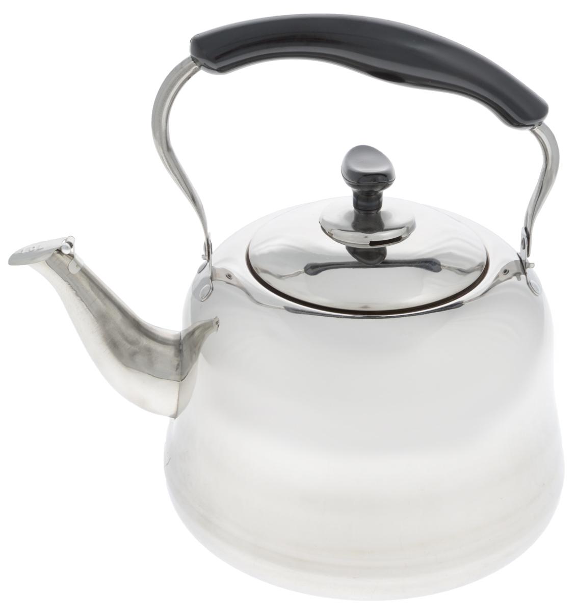 Чайник Mayer & Boch, со свистком, 4 л. 2350723507Чайник Mayer & Boch изготовлен из высококачественной нержавеющей стали. Он оснащен подвижной ручкой из стали с бакелитовой накладкой, что делает использование чайника очень удобным и безопасным. Крышка снабжена свистком, позволяя контролировать процесс подогрева или кипячения воды. Эстетичный и функциональный чайник будет оригинально смотреться в любом интерьере. Подходит для газовых, электрических и стеклокерамических плит. Можно мыть в посудомоечной машине. Высота чайника (без учета ручки и крышки): 15 см. Высота чайника (с учетом ручки и крышки): 28 см. Диаметр чайника (по верхнему краю): 12,5 см.