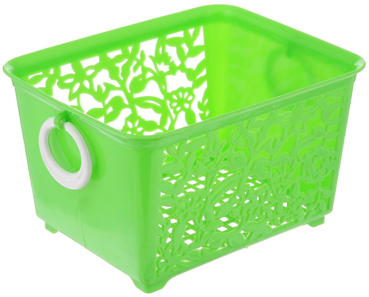 Корзина для мелочей Sima-land, цвет: салатовый, 14 х 11,5 х 8,5 см184975_салатовыйКорзина Sima-land, изготовленная из пластика, предназначена для хранения мелочей в ванной, на кухне или гараже. Позволяет хранить мелкие вещи, исключая возможность их потери. Корзина с двух сторон декорирована резным узором в виде цветов и дополнена решетчатым дном. Имеет две удобные ручки.