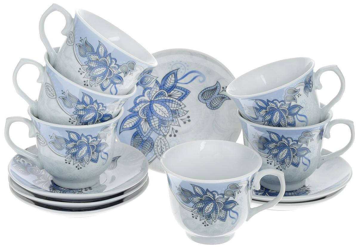 Набор чайный Loraine, 12 предметов. 2578625786Чайный набор Loraine состоит из шести чашек и шести блюдец. Изделия выполнены из высококачественного костяного фарфора и оформлены красивым цветочным рисунком. Такой набор изящно дополнит сервировку стола к чаепитию. Благодаря изысканному дизайну и качеству исполнения, он станет замечательным подарком для ваших друзей и близких. Набор упакован в подарочную коробку. Объем чашки: 220 мл. Диаметр чашки по верхнему краю: 9 см. Высота чашки: 7,5 см. Диаметр блюдца: 13,2 см. Высота блюдца: 2,2 см.