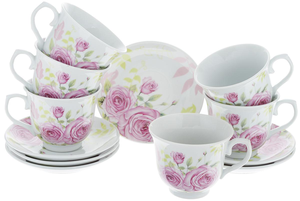 Набор чайный Loraine, 12 предметов. 2578025780Чайный набор Loraine состоит из шести чашек и шести блюдец. Изделия выполнены из высококачественного костяного фарфора и оформлены красивым цветочным рисунком. Такой набор изящно дополнит сервировку стола к чаепитию. Благодаря изысканному дизайну и качеству исполнения, он станет замечательным подарком для ваших друзей и близких. Набор упакован в подарочную коробку. Объем чашки: 220 мл. Диаметр чашки по верхнему краю: 9 см. Высота чашки: 7,5 см. Диаметр блюдца: 13,2 см. Высота блюдца: 2,2 см.