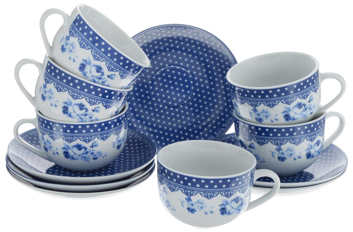 Набор чайный Loraine, цвет: белый, темно-синий, 12 предметов. 2590825908Чайный набор Loraine состоит из шести чашек и шести блюдец. Изделия выполнены из высококачественного фарфора и оформлены изящным рисунком. Такой набор прекрасно дополнит сервировку стола к чаепитию. Благодаря изысканному дизайну и качеству исполнения, он станет замечательным подарком для ваших друзей и близких. Объем чашки: 220 мл. Диаметр чашки по верхнему краю: 9 см. Высота чашки: 6,2 см. Диаметр блюдца: 14,5 см. Высота блюдца: 2,3 см.