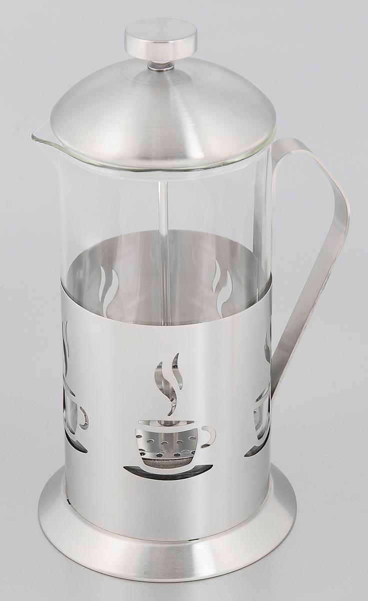 Френч-пресс Mayer & Boch, 1 л. 22882288Френч-пресс Mayer & Boch позволит быстро и просто приготовить свежий и ароматный чай или кофе. Корпус изготовлен из высококачественного жаропрочного стекла, устойчивого к окрашиванию, царапинам и термошоку. Фильтр-поршень из нержавеющей стали выполнен по технологии press- up для обеспечения равномерной циркуляции воды. Готовить напитки с помощью френч-пресса очень просто. Насыпьте внутрь заварку и залейте кипятком. Остановить процесс заваривания легко. Для этого нужно просто опустить поршень, и заварка уйдет вниз, оставляя вверху напиток, готовый к употреблению. Заварочный чайник с прессом - это совершенный чайник для ежедневного использования. Практичный и стильный дизайн полностью соответствует последним модным тенденциям в создании предметов кухонной утвари. Можно мыть в посудомоечной машине. Диаметр колбы: 10 см. Диаметр основания френч-пресса: 12,5 см. Высота (с учетом крышки): 25 см.