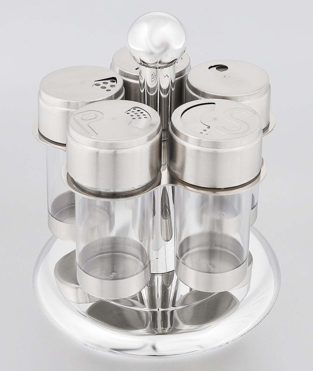 Набор банок для специй Mayer & Boch, на подставке, 6 предметов23525Набор Mayer & Boch состоит из трех универсальных емкостей для специй, перечницы и солонки, расположенных на вращающейся металлической подставке. Банки для хранения выполнены из высококачественной нержавеющей стали и прозрачного пластика. Крышки емкостей снабжены резьбой, которая обеспечивает плотное прилегание крышки, а также позволяет долгое время сохранить специи свежими. Набор Mayer & Boch - это оригинальное решение для современной кухни. Объем банок: 100 мл. Диаметр банок: 5,2 см. Высота банок: 11 см. Размер подставки: 16 х 16 х 18,5 см.