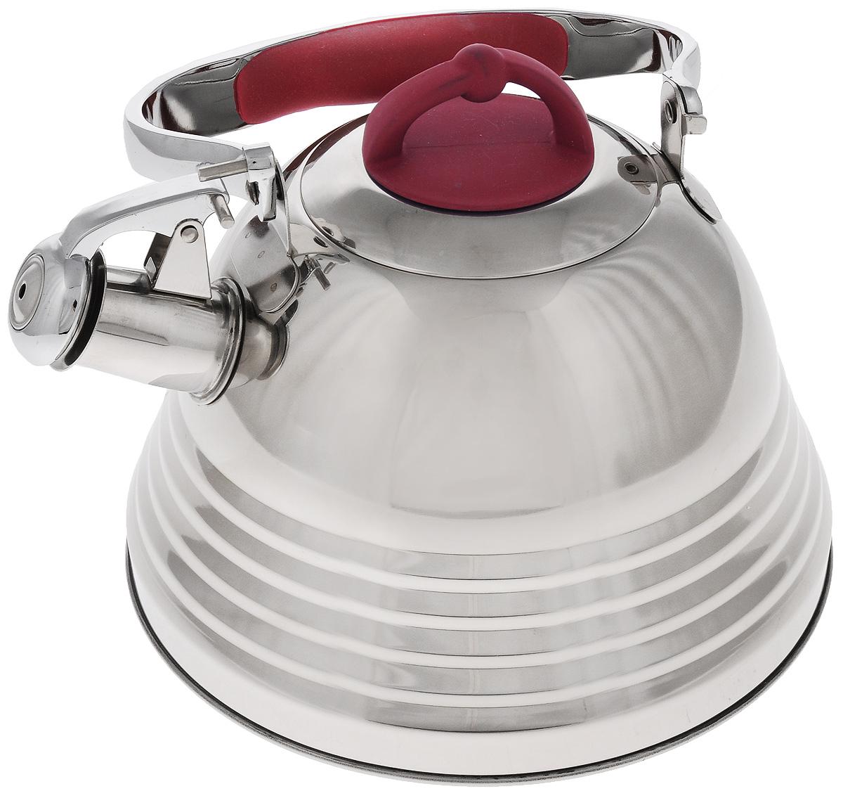 Чайник Mayer & Boch, со свистком, цвет: стальной, красный, 3 л. 2278422784Чайник Mayer & Boch выполнен из высококачественной нержавеющей стали, что обеспечивает долговечность использования. Капсулированное дно с прослойкой из алюминия обеспечивает наилучшее распределение тепла. Носик чайника оснащен насадкой-свистком и устройством для его открывания, что позволит вам контролировать процесс подогрева или кипячения воды. Ручка оснащена силиконовой вставкой для предотвращения ожогов на руках. Можно мыть в посудомоечной машине. Подходит для всех типов плит, включая индукционные. Диаметр чайника (по верхнему краю): 10 см. Высота чайника (без учета крышки и ручки): 13 см. Высота чайника (с учетом крышки и ручки): 24,5 см.
