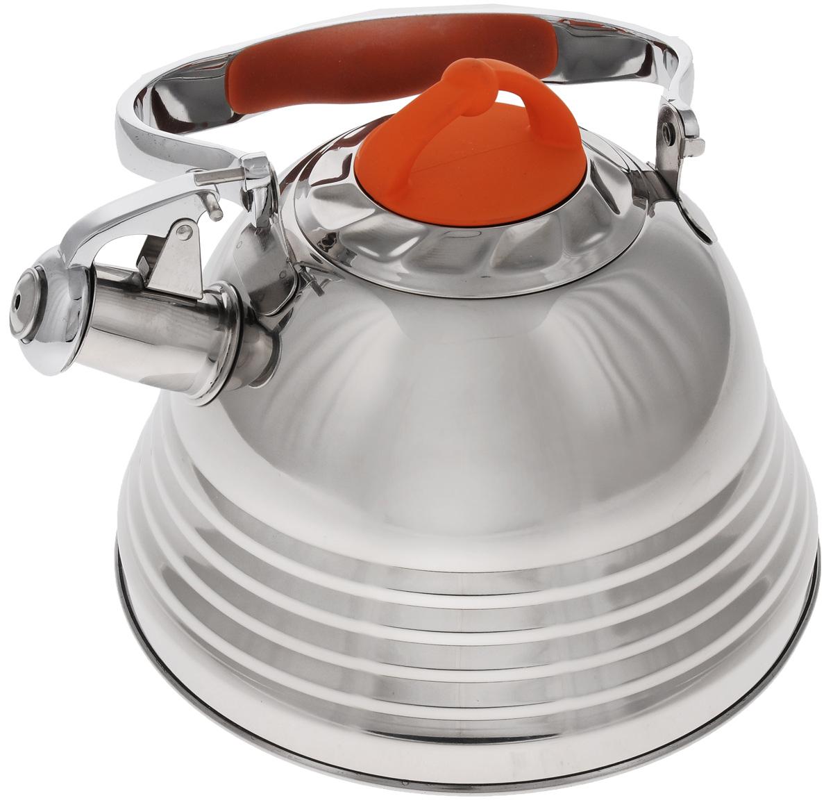 Чайник Mayer & Boch, со свистком, 3 л. 2278622786Чайник Mayer & Boch выполнен из высококачественной нержавеющей стали, что делает его весьма гигиеничным и устойчивым к износу при длительном использовании. Носик чайника оснащен насадкой-свистком, что позволит вам контролировать процесс подогрева или кипячения воды. Ручка, выполненная из стали с бакелитовой вставкой, делает использование чайника очень удобным и безопасным. Поверхность чайника гладкая, что облегчает уход за ним. Эстетичный и функциональный чайник будет оригинально смотреться в любом интерьере. Подходит для газовых, электрических, стеклокерамических и индукционных плит. Можно мыть в посудомоечной машине. Высота чайника (без учета ручки и крышки): 13 см. Высота чайника ( с учетом ручки и крышки): 25 см. Диаметр основания: 22 см. Диаметр индукционного диска: 17,5 см. Диаметр чайника (по верхнему краю): 10 см.