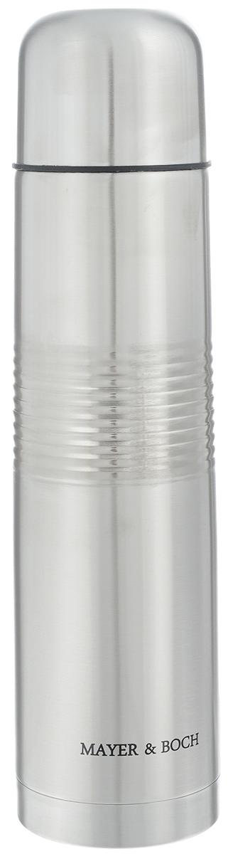 Термос Mayer & Boch, 1 л. 2587925879Термос Mayer & Boch с двойными стенками, выполненный из нержавеющей стали, сохраняет температуру напитка на длительный срок. Вакуумный закручивающийся клапан предохраняет от проливаний, а удобная кнопка-дозатор избавит от необходимости каждый раз откручивать крышку, что экономит вашу энергию и надолго сохраняет температуру. Крышку можно использовать как чашку. Стильный металлический корпус подойдет абсолютно всем и впишется в любой интерьер кухни. Можно использовать в холодильнике. Не рекомендуется мыть в посудомоечной машине и на открытом огне. Объем: 1 л. Высота термоса (с учетом крышки): 32 см. Диаметр горлышка: 5 см. Диаметр основания: 8 см. Размер крышки: 7,5 х 7,5 х 6 см.