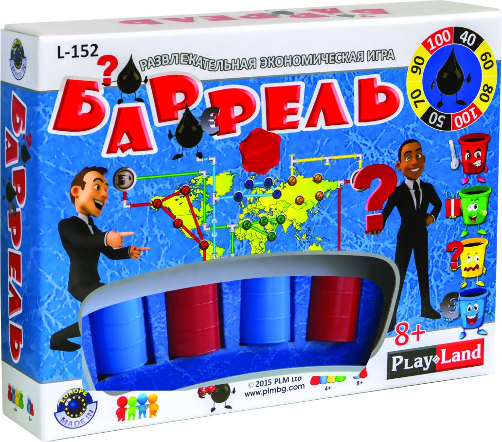 Play Land Настольная игра БаррельL-152Увлекательная экономическая игра, в процессе которой юные участники будут виртуально добывать нефть в разных уголках мира и продавать её на бирже или на нефтеперерабатывающие заводы. Игра способствует разностороннему развитию детей, учит их думать, анализировать, принимать решения, обращаться с деньгами, совершать первые коммерческие сделки.В состав игры входят : игровое поле; ценовой регулятор; 84 жетона; 24 карты; 24 банкноты; 16 конусов; 4 барреля; 1 игральная кость.