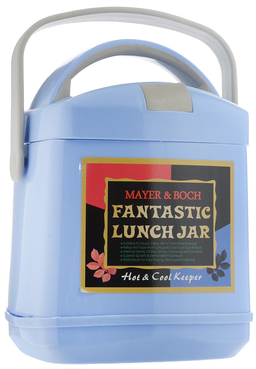 Термос пищевой Mayer & Boch Fantastic Lunch Jar, с контейнером, цвет: голубой, 1,9 л23726Термос пищевой Mayer & Boch Fantastic Lunch Jar предназначен для длительного хранения горячих и холодных блюд. Изделие сохраняет тепло до 6 часов, а холод - до 8. Термос способен сохранять горячую или холодную температуру при температуре окружающей среды не ниже 18°С и температуре жидкости при заполнении не ниже +99+-1°С. Корпус термоса выполнен из цветного пищевого полипропилена (пластика). Внутренняя колба изготовлена из нержавеющей стали - материала, который не вступает в реакцию с продуктами и не искажает вкус приготовленных блюд. Данный термос обладает не только прекрасными термоизоляционными качествами, но и непревзойденной надежностью. Благодаря эргономичной форме и удобным ручкам, его удобно транспортировать. Широкое отверстие позволяет удобно заполнять термос. В наборе также поставляется съемная емкость из нержавеющей стали, а также металлические ложка и вилка, которые хранятся в специальном футляре в крышке термоса. Такой термос идеально...