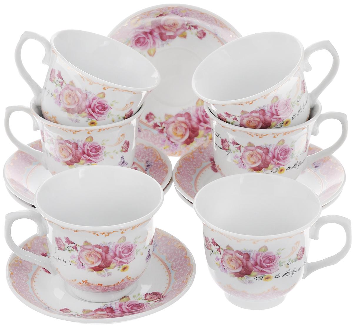 Набор чайный Loraine, 12 предметов. 2578125781Чайный набор Loraine состоит из 6 чашек и 6 блюдец. Изделия выполнены из высококачественного костяного фарфора и оформлены цветочным рисунком. Такой набор дополнит сервировку стола к чаепитию. Благодаря изысканному дизайну и качеству исполнения он станет замечательным подарком для ваших друзей и близких. Набор упакован в подарочную коробку, задрапированную белой атласной тканью. Объем чашки: 220 мл. Диаметр чашки по верхнему краю: 9 см. Высота чашки: 7,5 см. Диаметр блюдца: 13,5 см. Высота блюдца: 2,2 см.