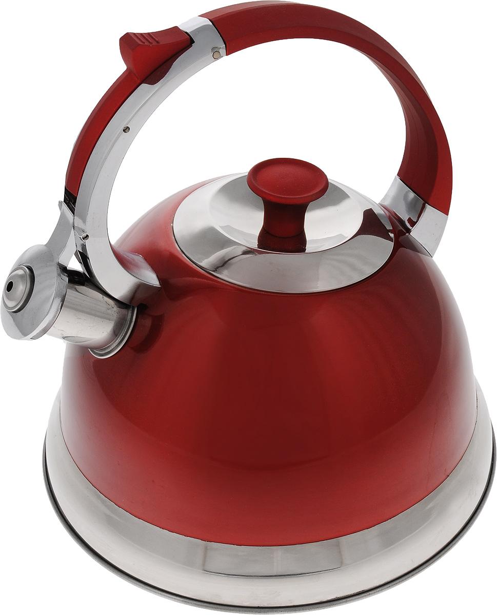 Чайник Mayer & Boch, со свистком, цвет: красный, стальной, 2,7 л. 2316723167Чайник Mayer & Boch изготовлен из высококачественной нержавеющей стали. Внешнее цветное термостойкое покрытие корпуса придает изделию безупречный внешний вид. Изделие оснащено бакелитовой ручкой эргономичной формы с силиконовым покрытием и откидным свистком, который громко оповещает о закипании воды. Эстетичный и функциональный, такой чайник будет оригинально смотреться в любом интерьере. Чайник пригоден для всех типов плит, включая индукционные. Можно мыть в посудомоечной машине. Высота чайника (без учета ручки и крышки): 12,7 см. Высота чайника (с учетом ручки и крышки): 23,5 см. Диаметр чайника (по верхнему краю): 10 см.