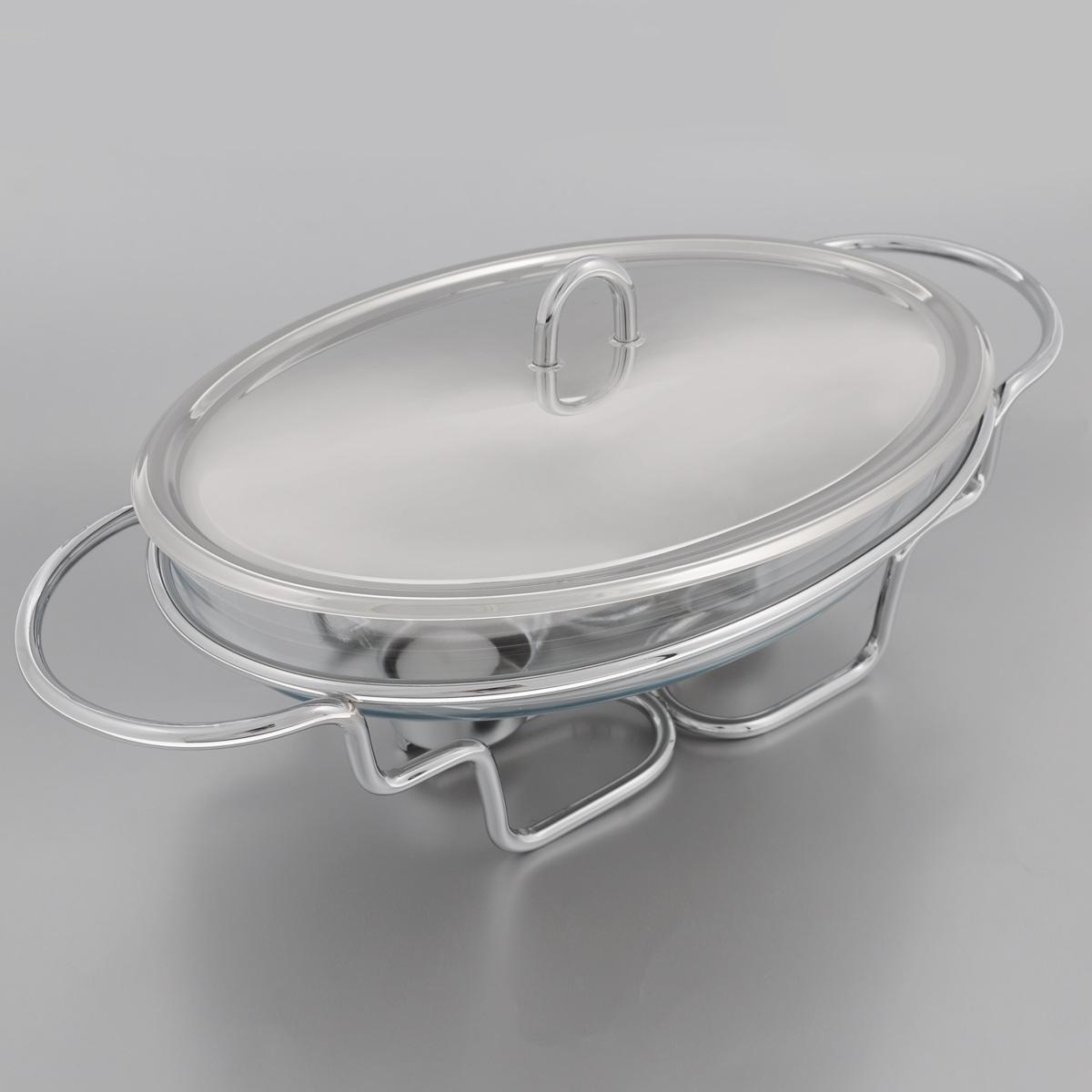Мармит Mayer & Boch, с подогревом, 2 л20883Мармит Mayer & Boch, изготовленный из стекла и нержавеющей стали, позволит вам довольно длительное время сохранять температуру блюда и создаст романтическую обстановку. Мармит предназначен для приготовления блюд в духовке и микроволновой печи. Благодаря красивому дизайну мармит можно сразу подавать на стол, не перекладывая блюдо на сервировочные тарелки. Его действие основано на принципе водяной бани. Под емкостью установлено 2 свечи (входят в комплект), которые, в свою очередь, нагревают продукты. Таким образом, данное кухонное приспособление - превосходный способ не дать блюду остыть. При этом пища не пригорает, не пересыхает, сохраняет все свои питательные и вкусовые качества. Стеклянное блюдо можно использовать в микроволновой печи и духовке. Можно мыть в посудомоечной машине и ставить в холодильник. Размер блюда (по верхнему краю): 30 х 21 см. Ширина мармита (с учетом ручек): 42 см. Высота мармита: 11...
