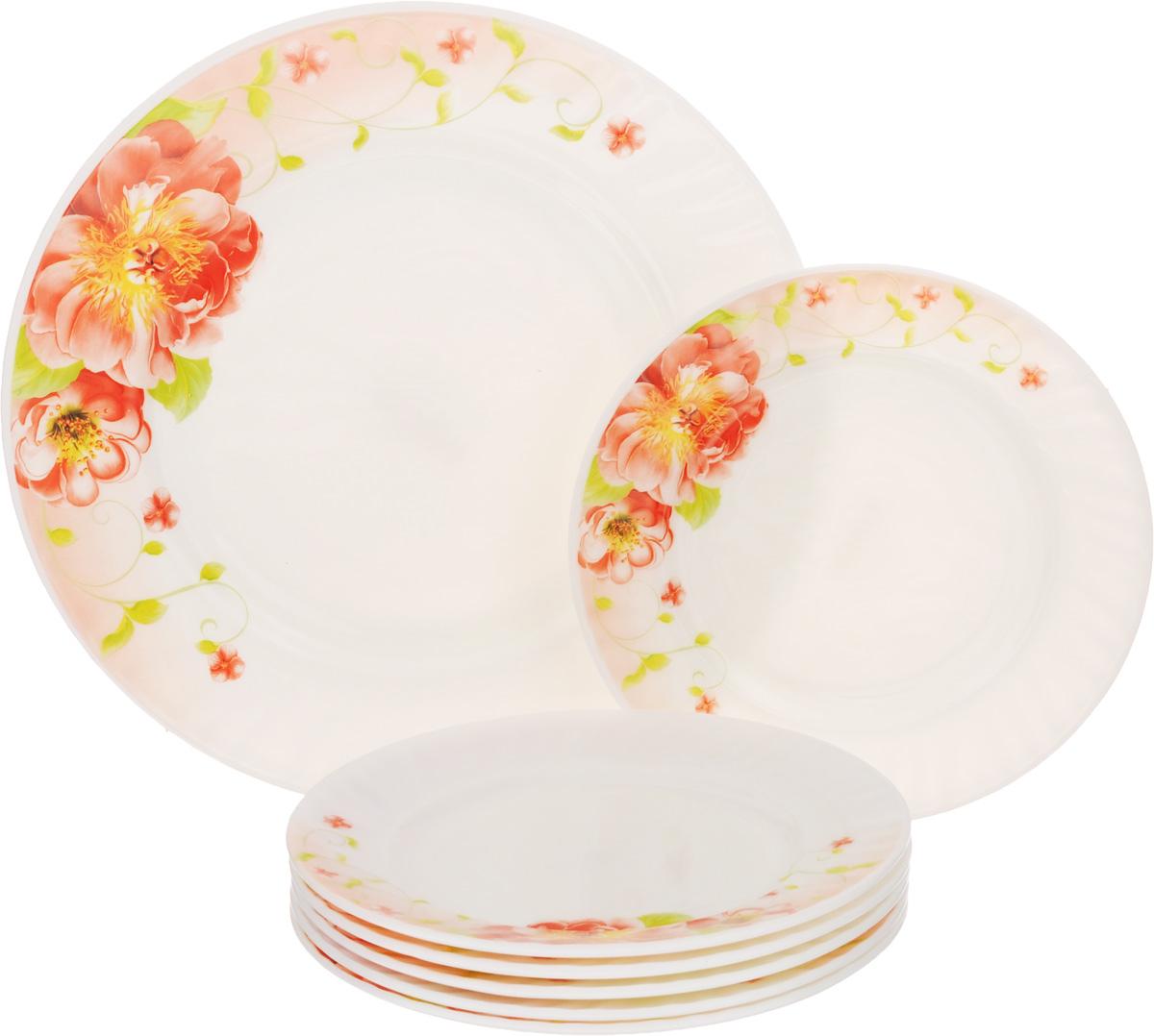 Набор тарелок Loraine, 7 шт23686Набор тарелок Loraine, выполненный из высококачественного стекла, состоит из семи тарелок: одно большое блюдо и шесть десертных тарелок. Изделия украшены изображением цветов, сочетающие в себе изысканный дизайн с максимальной функциональностью. Данный набор предназначен для красивой сервировки различных блюд. Оригинальность оформления придется по вкусу и ценителям классики, и тем, кто предпочитает утонченность и изящность. Можно использовать в холодильной камере и в микроволновой печи. Можно мыть в посудомоечной машине. Диаметр большого блюда: 25 см. Высота большого блюда: 2 см. Диаметр десертных тарелок: 18 см. Высота десертных тарелок: 1,5 см.