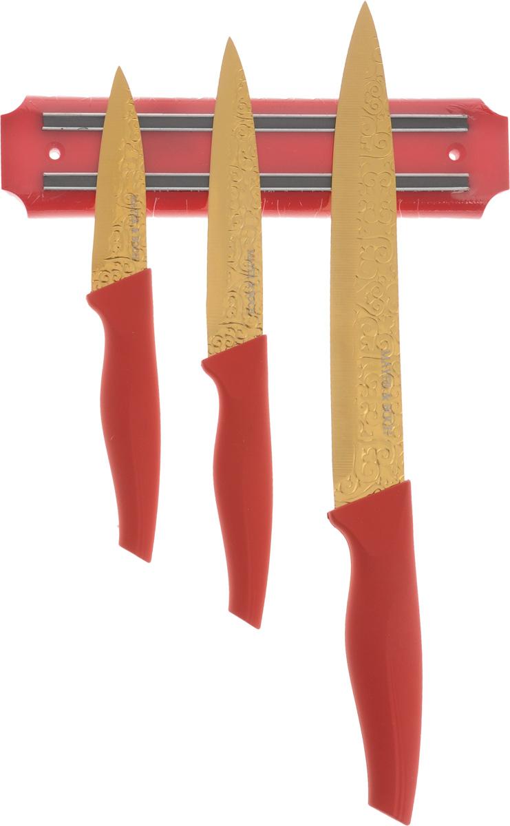 Набор ножей Mayer & Boch, цвет: золотистый, красный, 4 предмета. 2413924139Набор Mayer & Boch состоит из универсального ножа, разделочного ножа, а также ножа для очистки. Лезвия изделий выполнены из высококачественной нержавеющей стали. Эргономичные рукоятки изготовлены из полипропилена и термопластика. Ножи отвечают высоким стандартам качества и гигиены. Благодаря прочности и надежности они идеально подходят для любой кухни. Изделия имеют внешнее титановое покрытие. В комплект входит магнитный держатель, который крепится к стене при помощи 2 дюбелей и шурупов (входят в комплект). Не рекомендуется мыть в посудомоечной машине. Длина лезвия разделочного ножа: 20 см. Общая длина разделочного ножа: 32,5 см. Длина лезвия ножа универсального: 12,5 см. Общая длина ножа универсального: 23 см. Длина лезвия ножа для очистки: 8,8 см. Общая длина ножа для очистки: 19,5 см. Размер магнита: 20 х 5 х 1,5 см.