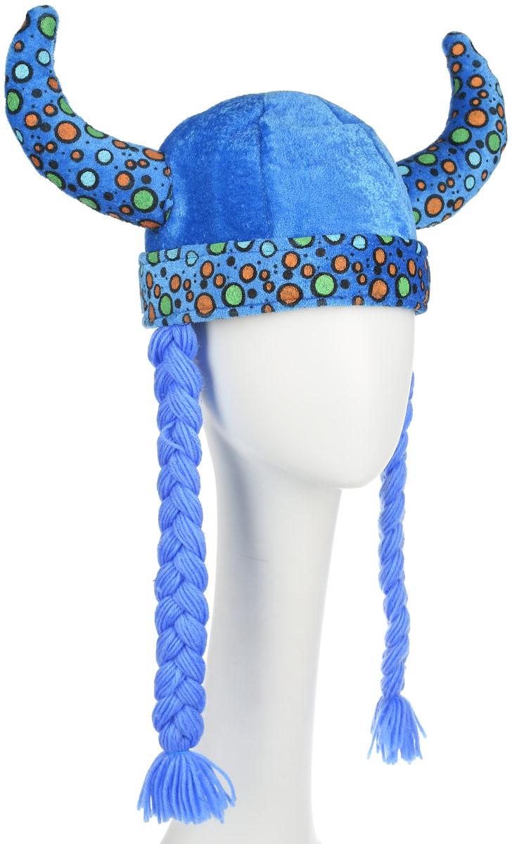 Partymania Шляпа карнавальная Викинг цвет голубойT1219_голубойКарнавальная шляпа Partymania Викинг выполнена из мягкого бархатистого полиэстера. Изделие представляет собой шапку с рогами и косичками, украшенную разноцветным принтом. Такая карнавальная шляпа великолепно дополнит образ вашего персонажа, подчеркнет его характер и сформирует облик в целом. Если у вас намечается веселая вечеринка или маскарад, то такая шляпа легко поможет создать праздничный наряд. Внесите нотку задора и веселья в ваш праздник. Веселое настроение и масса положительных эмоций вам будут обеспечены! Высота шляпы: 18 см. Обхват головы: 60 см. Длина косички: 31 см.