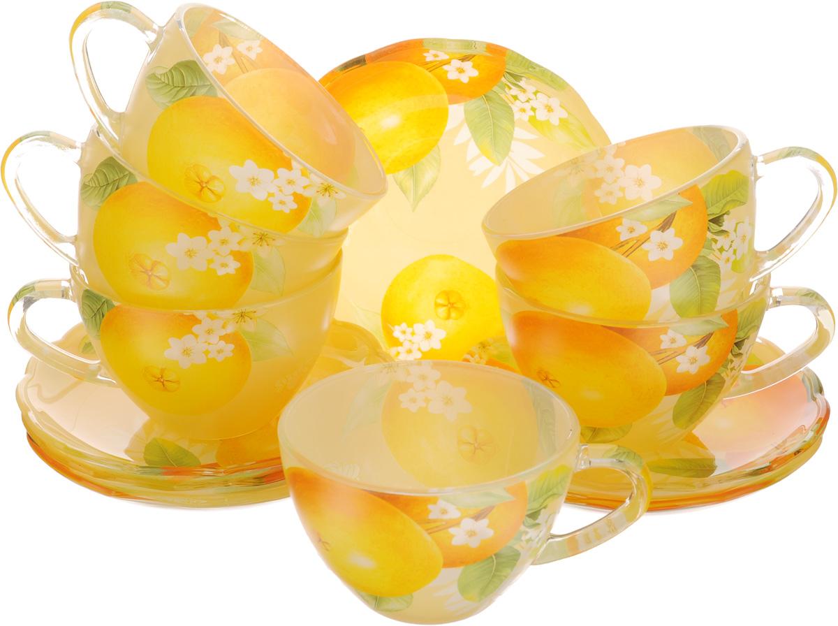 Набор чайный Loraine, 12 предметов. 2411824118Чайный набор Loraine состоит из шести чашек и шести блюдец. Предметы набора изготовлены из высококачественного стекла. Чайный набор изысканного утонченного дизайна украсит интерьер кухни. Прекрасно подойдет как для торжественных случаев, так и для ежедневного использования. Объем чашки: 200 мл. Диаметр чашки (по верхнему краю): 9,2 см. Высота стенки чашки: 6,5 см. Диаметр блюдца (по верхнему краю): 13,5 см. Высота блюдца: 2 см.