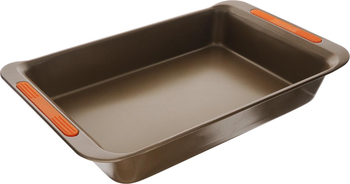 Форма для выпечки Mayer & Boch, с антипригарным покрытием, 41 х 24,8 x 6,4 см24274Форма для выпечки Mayer & Boch Unico изготовлена из углеродистой стали с антипригарным покрытием, благодаря чему пища не пригорает и не прилипает к стенкам посуды. Кроме того, готовить можно с добавлением минимального количества масла и жиров. Антипригарное покрытие также обеспечивает легкость мытья. На ручках имеются силиконовые вставки. Подходит для использования в духовом шкафу. Не подходит для СВЧ-печей. Рекомендуется ручная чистка. Используйте только деревянные и пластиковые лопатки. Размер формы (с учетом ручек): 41 х 24,8 см. Высота стенки: 6,4 см.
