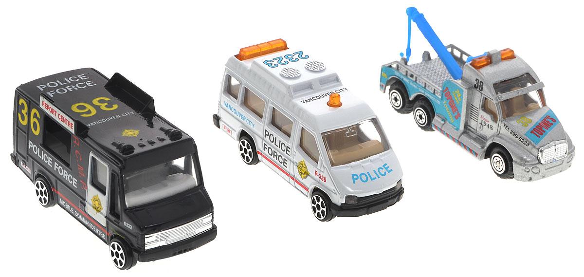 Pro-Engine Набор машинок Полиция 3 штPT2049_полицияНабор машинок Pro-Engine Полиция представляет собой 3 машины, выполненные в виде точных копий полицейских машин. Модели отличаются высоким качеством исполнения и детализации. Корпус моделей выполнен из металла, стекла изготовлены из прочного прозрачного пластика. Колеса машинок имеют свободный ход. Ваш ребенок часами будет играть с набором, придумывая различные истории. Порадуйте его таким замечательным подарком!