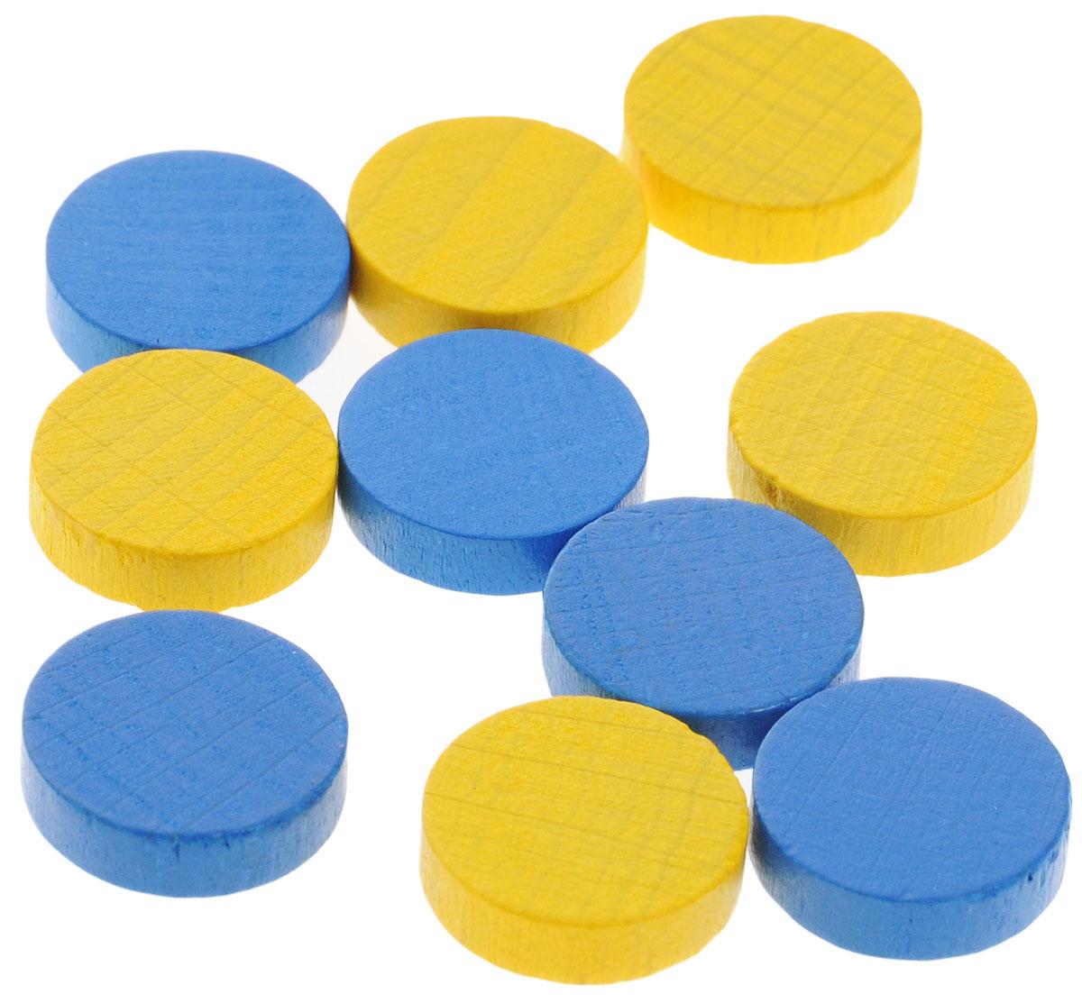 Pandoras Box Набор фишек Эко-стиль диаметр 15 мм цвет желтый синий 10 шт06LZ021_синий, желтыйНабор фишек Эко-стиль предназначен для настольных игр. Фишки можно использовать для отметки уровня ресурсов жизни, победных очков при игре в настольные игры. В наборе имеются фишки двух разных цветов. Фишки выполнены из натурального дерева и покрыты яркой краской. Набор содержит 10 фишек диаметром 1,5 см.