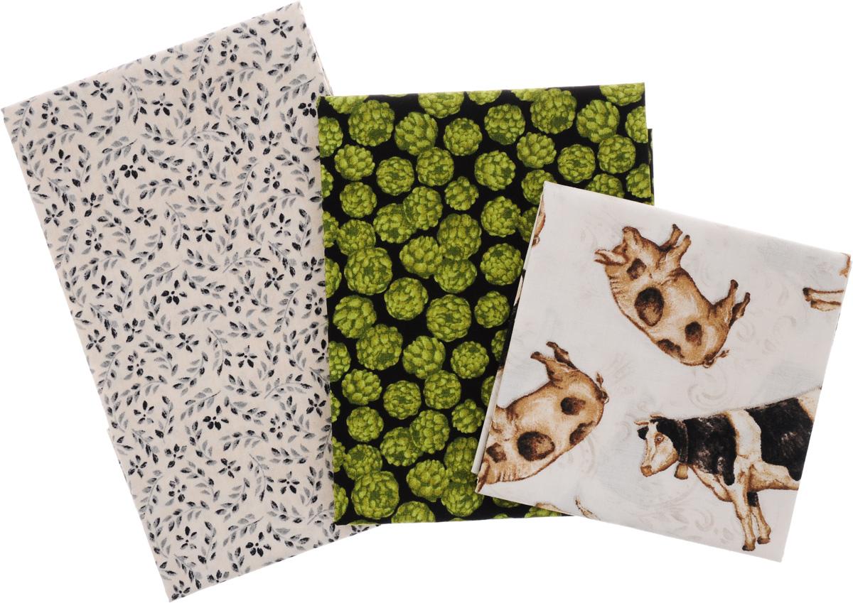 Ткань для пэчворка RTO, 3 отреза, 55 х 55 см. PST-2/11PST-2/11Ткань RTO, изготовленная из 100% хлопка, предназначена для пошива одеял, покрывал, сумок, аппликаций и прочих изделий в технике пэчворк. Также подходит для пошива кукол, аксессуаров и одежды. Пэчворк - это вид рукоделия, при котором по принципу мозаики сшивается цельное изделие из кусочков ткани (лоскутков).