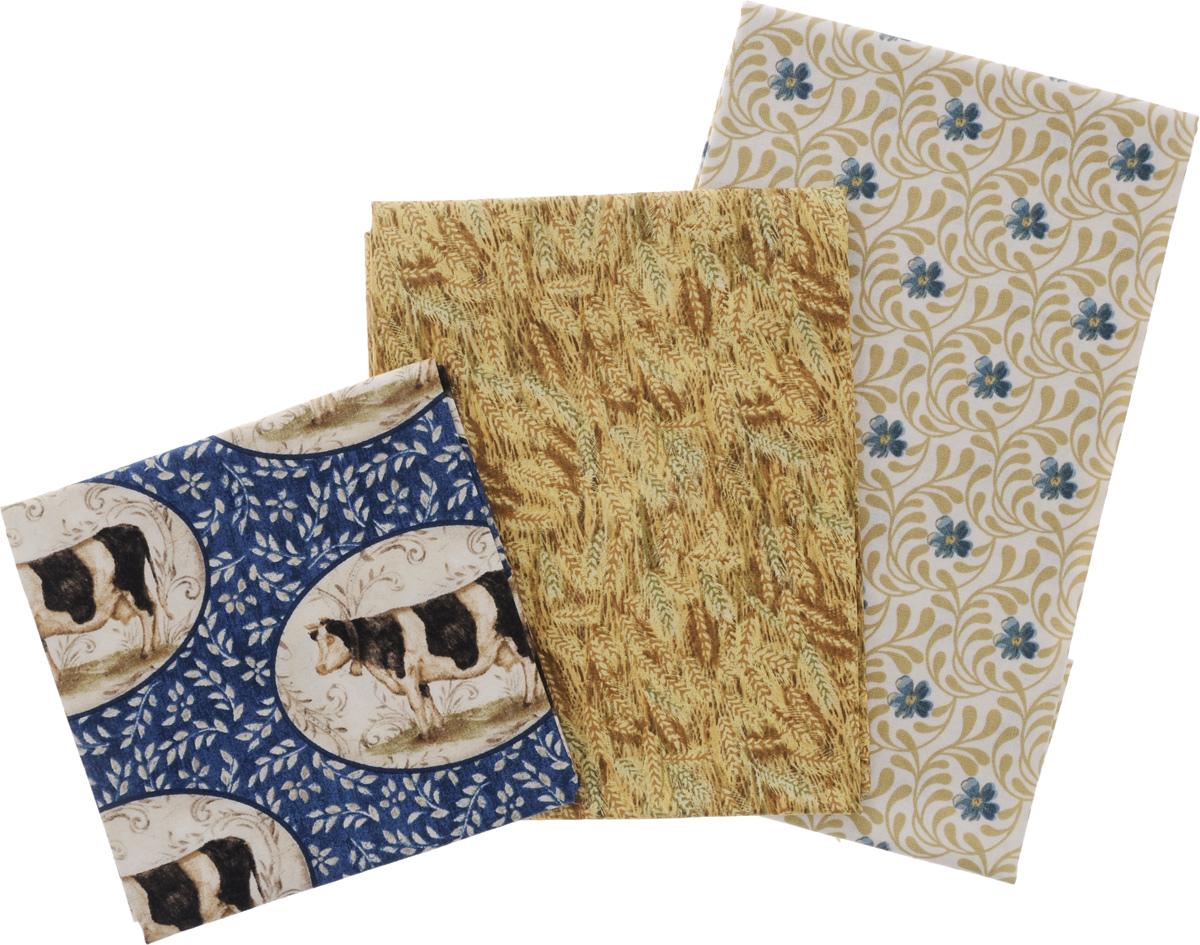 Ткань для пэчворка RTO, 3 отреза, 55 х 55 см. PST-2/9PST-2/9Ткань RTO, изготовленная из 100% хлопка, предназначена для пошива одеял, покрывал, сумок, аппликаций и прочих изделий в технике пэчворк. Также подходит для пошива кукол, аксессуаров и одежды. Пэчворк - это вид рукоделия, при котором по принципу мозаики сшивается цельное изделие из кусочков ткани (лоскутков).