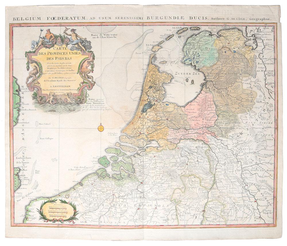 Географическая карта Соединенных провинций Нидерландов (Carte des Provinces Unies des Pays Bas). Гравюра. Франция, первая половина XVIII века