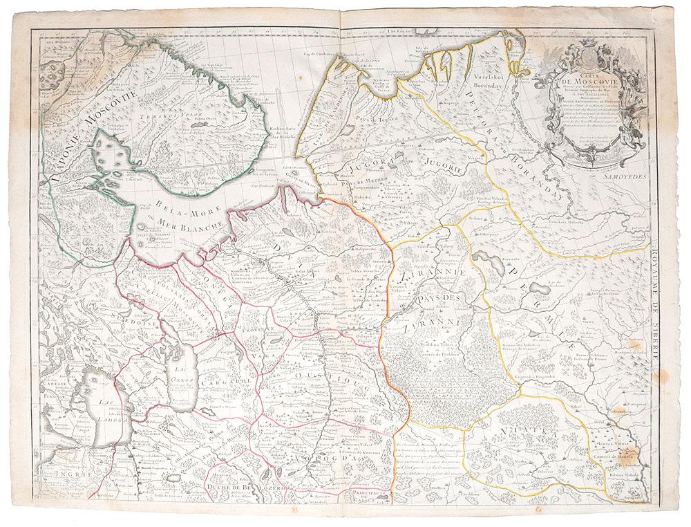 Географическая карта Московии (Carte de Moscovie). Гравюра. Франция, 1706 год