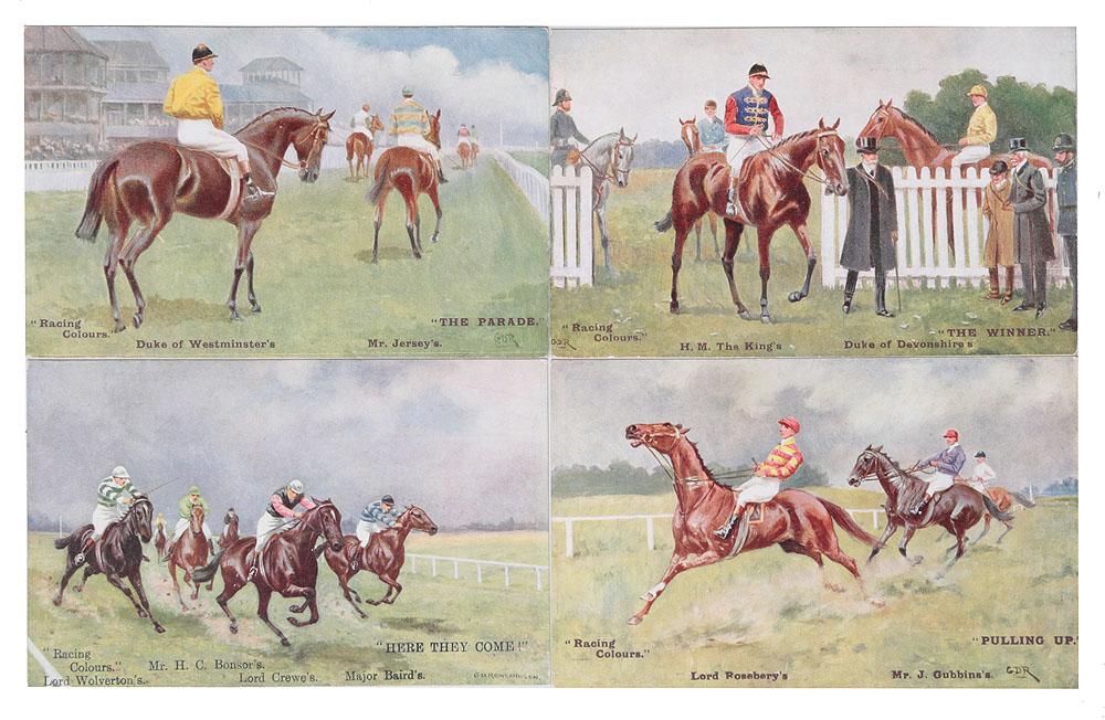 Скачки. Комплект из 4 открыток