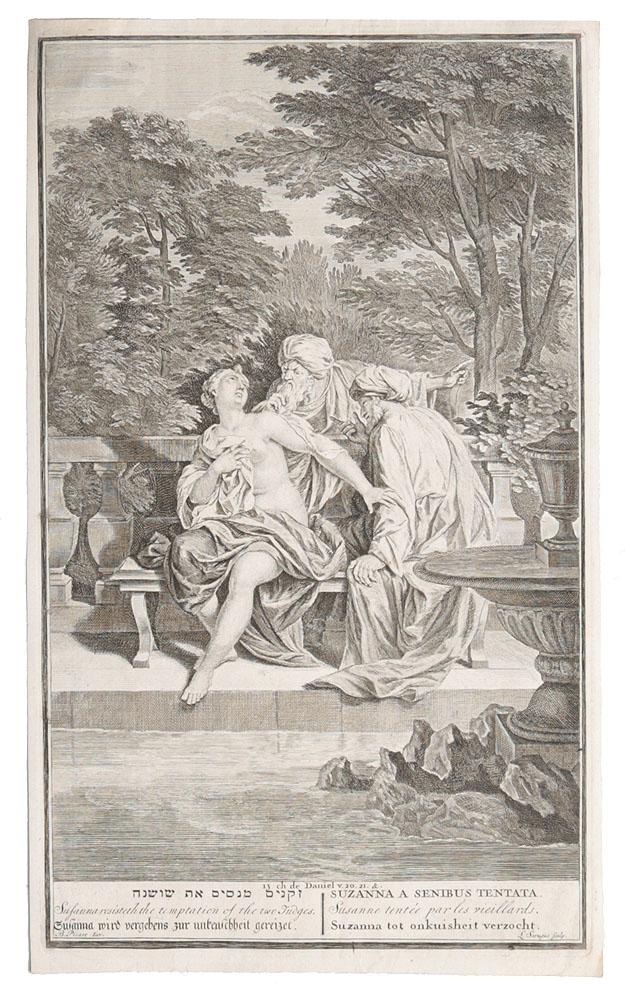 Сусанна и старцы. Резцовая гравюра. Западная Европа, конец XVIII века