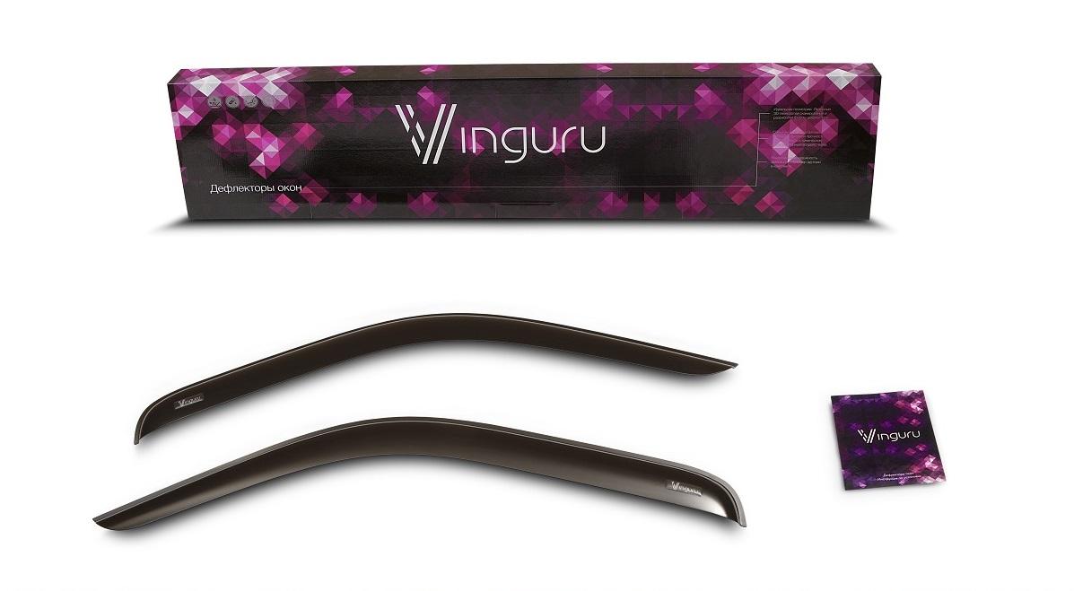 Комплект дефлекторов Vinguru, накладные, скотч, для Suzuki Jimny (JB43) 1998- внедорожник, 2 штAFV48698Комплект накладных дефлекторов Vinguru позволяет направить в салон поток чистого воздуха, защитив от дождя, снега и грязи, а также способствует быстрому отпотеванию стекол в морозную и влажную погоду. Дефлекторы улучшают обтекание автомобиля воздушными потоками, распределяя их особым образом. Дефлекторы Vinguru в точности повторяют геометрию автомобиля, легко устанавливаются, долговечны, устойчивы к температурным колебаниям, солнечному излучению и воздействию реагентов. Современные композитные материалы обеспечиваю высокую гибкость и устойчивость к механическим воздействиям. Каждый комплект упакован в пузырчатую защитную пленку, картонный короб и имеет праймер адгезии, оригинальный скотч 3М и подробную инструкцию по установке.