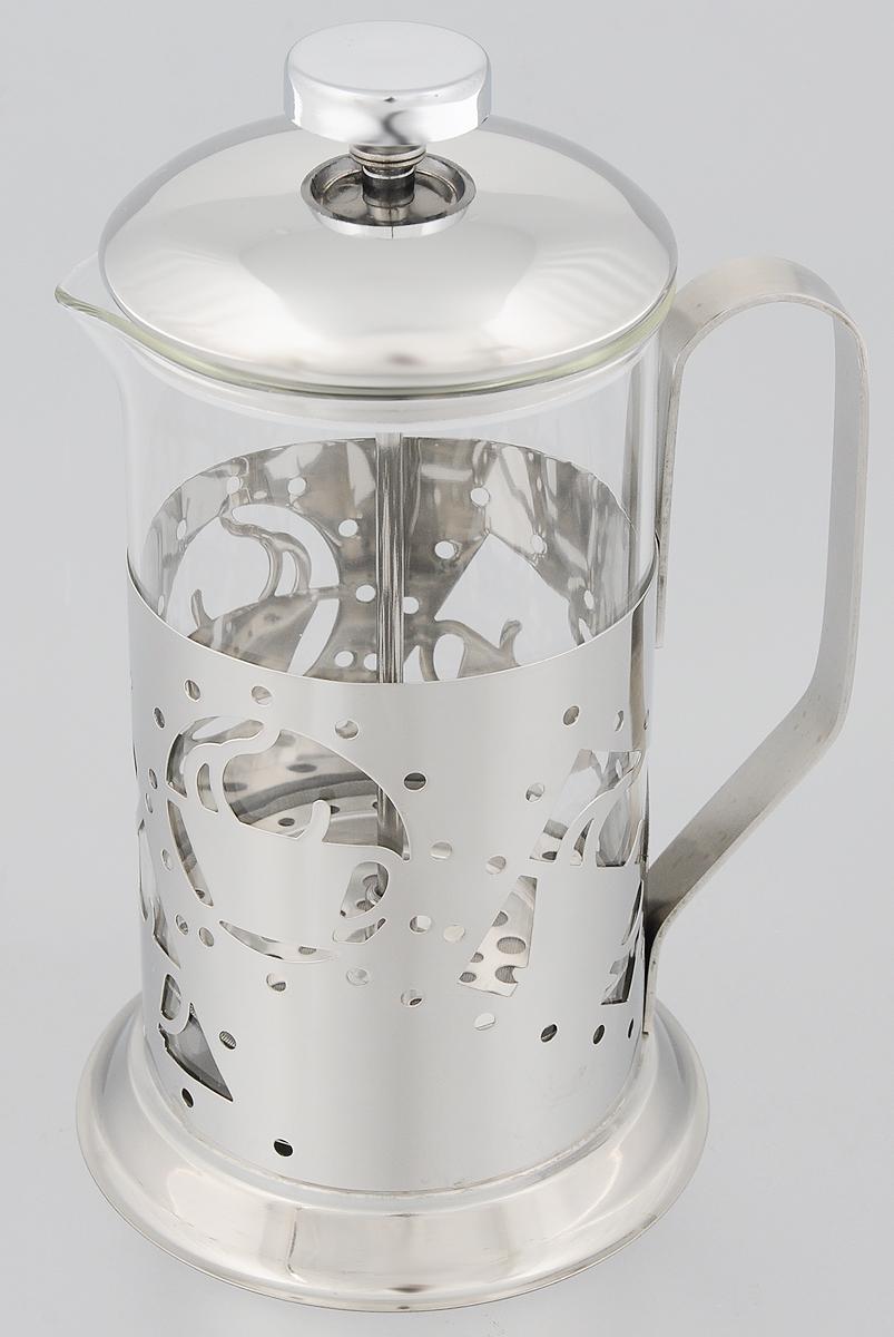 Френч-пресс Mayer & Boch, 600 мл. 81298129Френч-пресс Mayer & Boch позволит быстро и просто приготовить свежий и ароматный чай или кофе. Корпус изготовлен из высококачественного жаропрочного стекла, устойчивого к окрашиванию, царапинам и термошоку. Фильтр-поршень из нержавеющей стали выполнен по технологии press- up для обеспечения равномерной циркуляции воды. Готовить напитки с помощью френч-пресса очень просто. Насыпьте внутрь заварку и залейте кипятком. Остановить процесс заваривания легко. Для этого нужно просто опустить поршень, и заварка уйдет вниз, оставляя вверху напиток, готовый к употреблению. Заварочный чайник с прессом - это совершенный чайник для ежедневного использования. Практичный и стильный дизайн полностью соответствует последним модным тенденциям в создании предметов кухонной утвари. Можно мыть в посудомоечной машине. Диаметр колбы: 8,5 см. Диаметр основания: 11 см. Высота (с учетом крышки): 21 см.