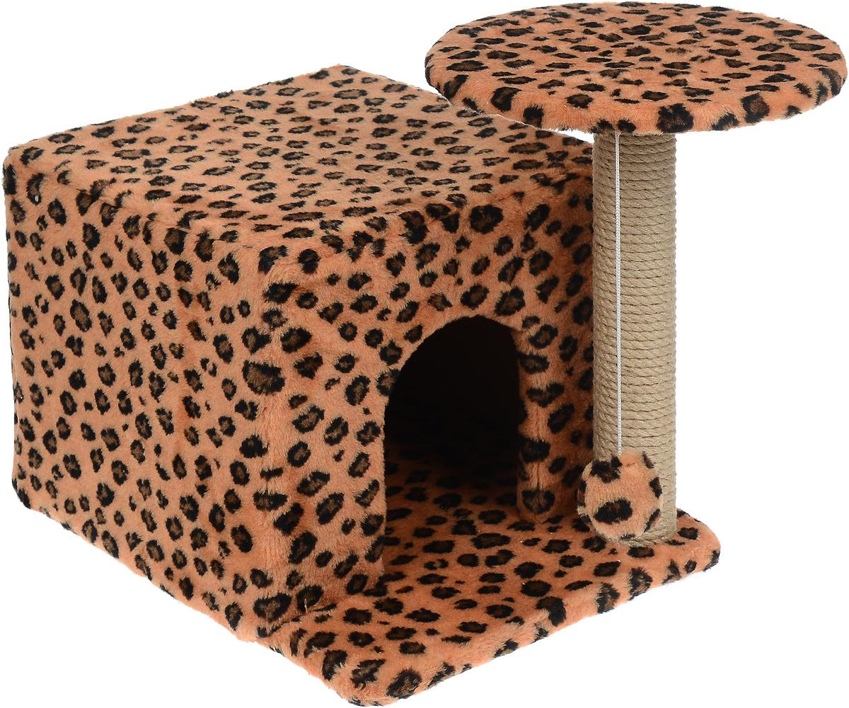 Игровой комплекс для кошек Меридиан, с когтеточкой и домиком, цвет: коричневый, черный, бежевый, 59 х 45 х 44 смД132 ЛеИгровой комплекс для кошек Меридиан выполнен из высококачественного ДВП и ДСП и обтянут искусственным мехом. Изделие предназначено для кошек. Ваш домашний питомец будет с удовольствием точить когти о специальный столбик, изготовленный из джута. А отдохнуть он сможет либо на полке, находящейся наверху столбика, либо в расположенном внизу домике. Также на полке имеется подвесная игрушка, которая привлечет внимание кошки к когтеточке. Общий размер: 59 х 45 х 44 см. Диаметр полки: 31 см. Размер домика: 45 х 35 х 32 см.
