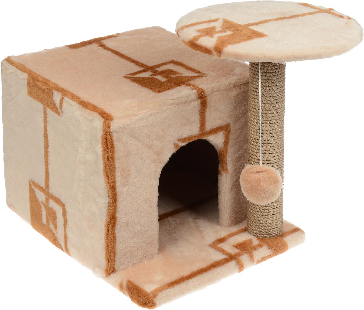 Игровой комплекс для кошек Меридиан, с когтеточкой и домиком, цвет: коричневый, бежевый, 59 х 45 х 44 смД132 ГИгровой комплекс для кошек Меридиан выполнен из высококачественного ДВП и ДСП и обтянут искусственным мехом. Изделие предназначено для кошек. Ваш домашний питомец будет с удовольствием точить когти о специальный столбик, изготовленный из джута. А отдохнуть он сможет либо на полке, находящейся наверху столбика, либо в расположенном внизу домике. Также на полке имеется подвесная игрушка, которая привлечет внимание кошки к когтеточке. Общий размер: 59 х 45 х 44 см. Диаметр полки: 31 см. Размер домика: 45 х 35 х 32 см.