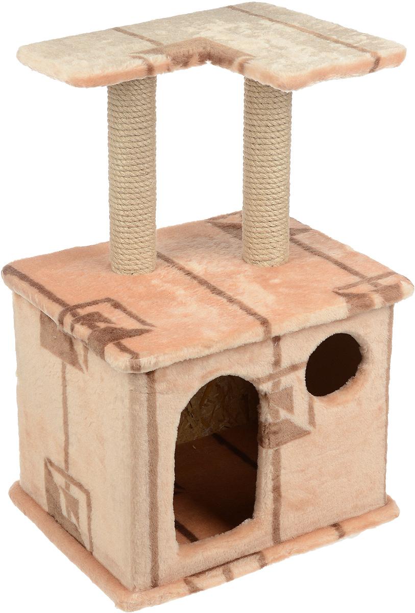 Игровой комплекс для кошек Меридиан, с фигурной полкой и домиком, цвет: коричневый, бежевый, 45 х 36 х 69 смД124 ГИгровой комплекс для кошек Меридиан выполнен из высококачественного ДВП и ДСП и обтянут искусственным мехом. Изделие предназначено для кошек. Ваш домашний питомец будет с удовольствием точить когти о специальный столбик, изготовленный из джута. А отдохнуть он сможет либо на полке, находящейся наверху столбика, либо в расположенном внизу домике. Общий размер: 45 х 36 х 69 см. Размер полки: 40 х 31 см. Размер домика: 45 х 36 х 37 см.