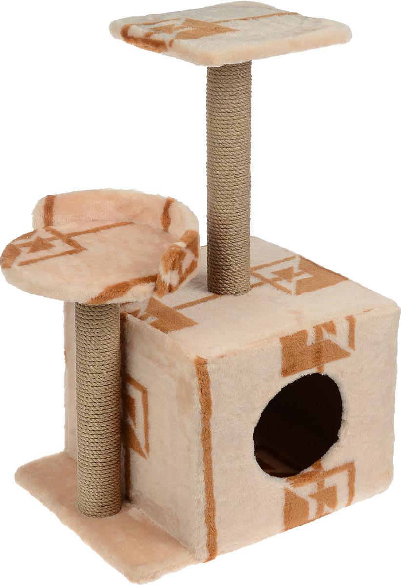 Игровой комплекс для кошек Меридиан, с домиком и когтеточкой, цвет: коричневый, бежевый, 35 х 45 х 75 смД130 ГИгровой комплекс для кошек Меридиан выполнен из высококачественного ДВП и ДСП и обтянут искусственным мехом. Изделие предназначено для кошек. Ваш домашний питомец будет с удовольствием точить когти о специальные столбики, изготовленные из джута. А отдохнуть он сможет либо на полках разной высоты, либо в расположенном внизу домике. Общий размер: 35 х 45 х 75 см. Размер домика: 46 х 37 х 33 см. Высота полок (от пола): 74 см, 45 см. Размер полок: 27 х 27 см, 26 х 26 см.